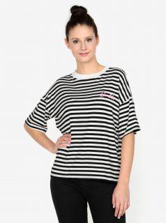 Krémovo-černé pruhované tričko s výšivkou MISSGUIDED