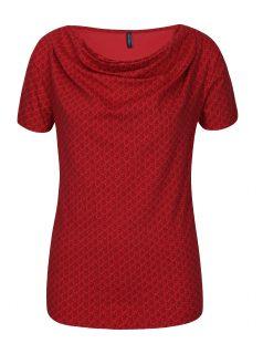 Červené vzorované tričko s řasením v dekoltu Tranquillo Vitisa