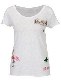 Bílé tričko s nášivkami Rich & Royal