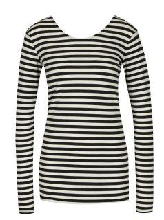 Krémovo-černé dámské pruhované tričko s dlouhým rukávem Garcia Jeans