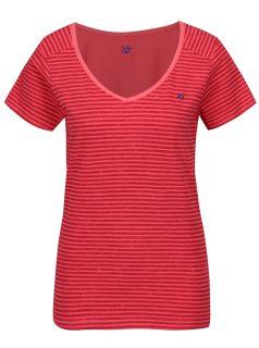 Růžové dámské pruhované tričko LOAP Bernice