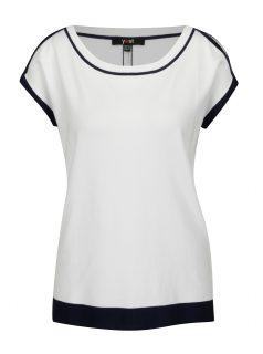 Modro-bílé svetrové tričko s průstřihy na ramenou Yest