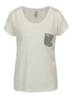 Světle šedé žíhané tričko s náprsní kapsou Blendshe Mandy