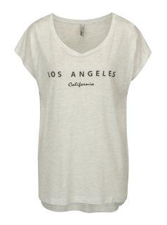 Světle šedé žíhané oversize tričko s potiskem Blendshe Mandy