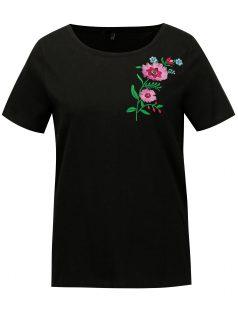Černé tričko s výšivkou VERO MODA Lenna
