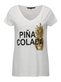 Bílé tričko s potiskem a ananasem z flitrů VERO MODA Bling
