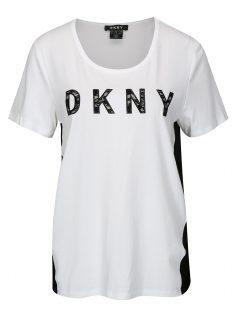 Bílo-černé tričko s překládanou zadní částí DKNY