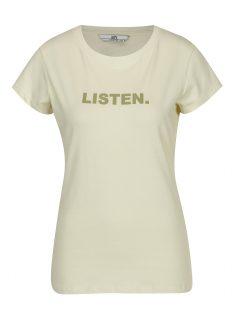 Světle žluté tričko s potiskem a krátkým rukávem SH Licogna