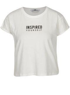 Bílé zkrácené tričko s potiskem a flitry na zádech SH Ibirama