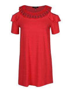 Červené tričko s průstřihy na ramenou Yest