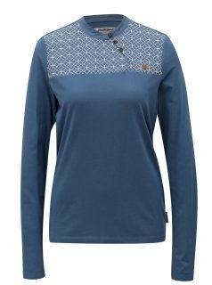 Modré vzorované tričko s výšivkou Maloja