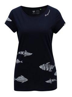 Tmavě modré dámské tričko s potiskem ryb Ragwear Mint A Organic