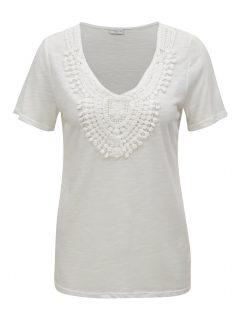 Krémové tričko s krajkovou nášivkou Jacqueline de Yong Dodo