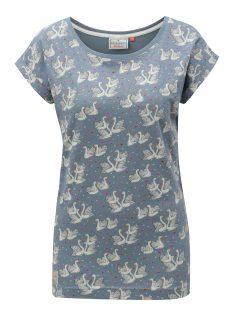 Světle modré tričko s motivem labutí Brakeburn