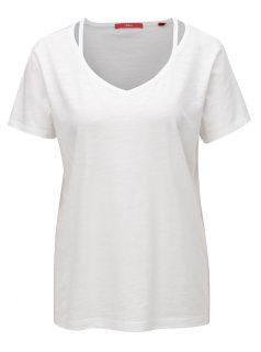 Bílé dámské tričko s véčkovým výstřihem s.Oliver