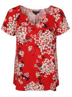 Červené květované tričko s krátkým rukávem Dorothy Perkins Curve
