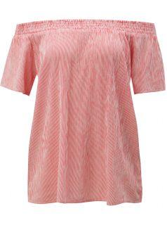 Bílo-červené pruhované tričko s odhalenými rameny Blendshe Linne