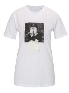 Bílé tričko s potiskem La femme MiMi