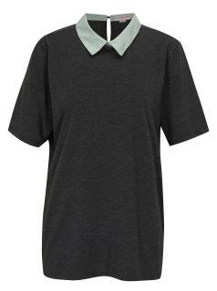 Tmavě šedé tričko s límečkem La femme MiMi