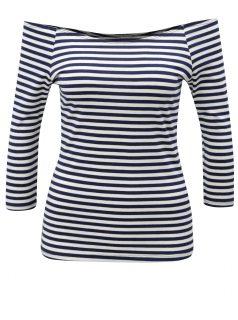 Bílo-modré pruhované tričko s odhalenými rameny ZOOT
