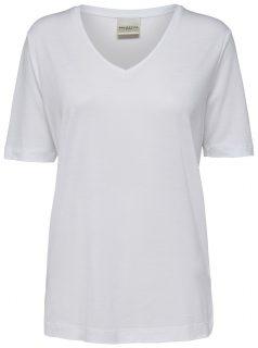 Bílé tričko s véčkovým výstřihem Selected Femme Lyro