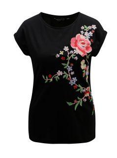 Černé tričko s nášivkou květiny Dorothy Perkins