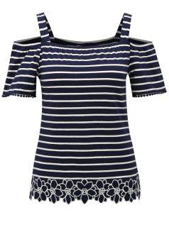 Modré pruhované tričko s odhalenými rameny Dorothy Perkins