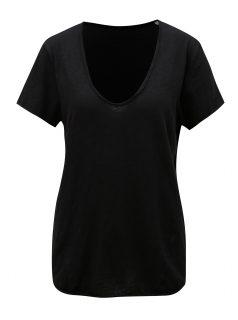 Černé dámské basic tričko s véčkovým výstřihem Stanley & Stella Slub