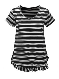 Bílo-černé pruhované oversize tričko s volánem Broadway Darian