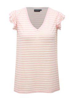 Bílo-růžové pruhované dámské tričko Broadway Felicie