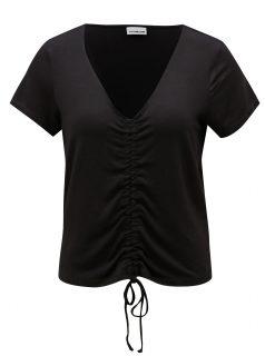 Černé tričko se stahováním v přední části Noisy May Milo