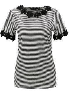 Bílo-černé pruhované tričko s krajkovými detaily Dorothy Perkins