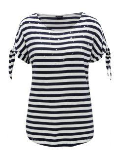 Bílo-modré pruhované tričko se zavazováním na rukávech M&Co