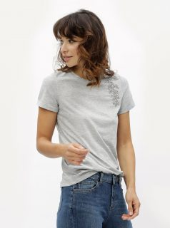Šedé tričko s ozdobnou aplikací Dorothy Perkins