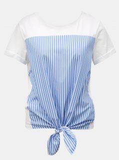 Modro-bílé pruhované tričko s uzlem Rich & Royal