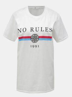 Bílé tričko potiskem a krátkým rukávem MISSGUIDED