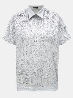 Bílé oversize tričko s límečkem a potiskem Mayda Pohádka