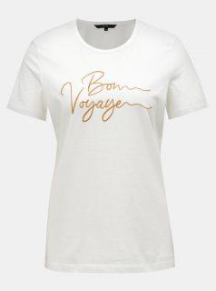 Krémové tričko s výšivkou VERO MODA