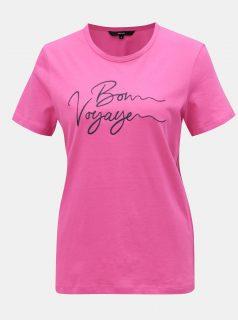 Růžové tričko s výšivkou VERO MODA
