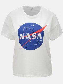 Bílé volné tričko s potiskem ONLY Nasa