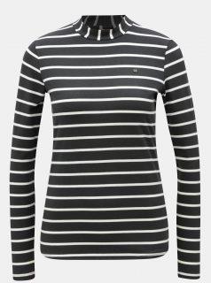 Bílo-černé pruhované tričko se stojáčkem a dlouhým rukávem Blutsgeschwister