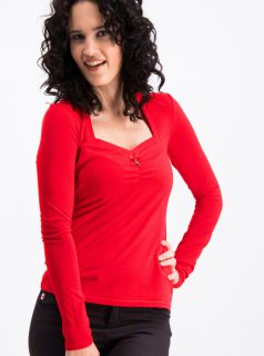 Červené tričko s dlouhým rukávem Blutsgeschwister