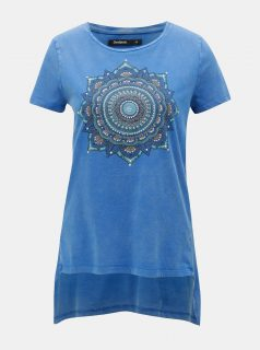 Modré tričko s cípy a potiskem Desigual