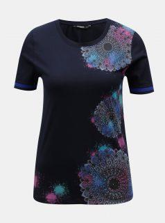 Tmavě modré tričko s potiskem mandal Desigual