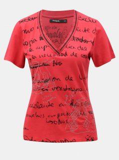 Červené tričko s potiskem Desigual