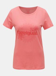 Růžové tričko s potiskem Desigual