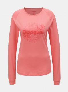 Růžové tričko s potiskem a dlouhým rukávem Desigual