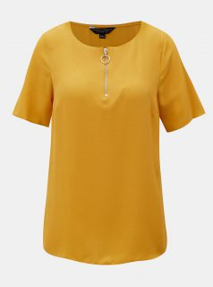 Hořčicové tričko s krátkým rukávem Dorothy Perkins