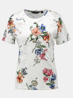 Bílé květované tričko s krajkovými detaily Dorothy Perkins
