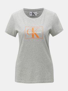 Šedé dámské žíhané tričko s potiskem Calvin Klein Jeans